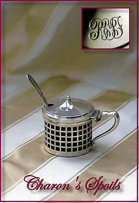 Antique Sterling Silver Lidded Mustard Cranberry Glass