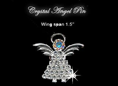 Silver and Crystal Angel Pin