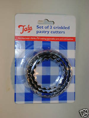 New Tala Crinkled Pastry Cutters Stainless Steel Set Of 3 Ref 9517