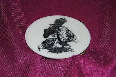 Three Eagles - Wildlife - Etched Cultured Montana Marble Western Belt Buckle