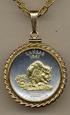 Handcrafted Gold on Silver Kansas Commemorative Quarter Necklace in Rope Bezel