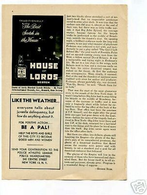 House of Lords Scotch Whiskey 1950's Original Ad