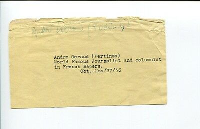 Andre Pertinax Geraud Author French Journalist Signed Autograph