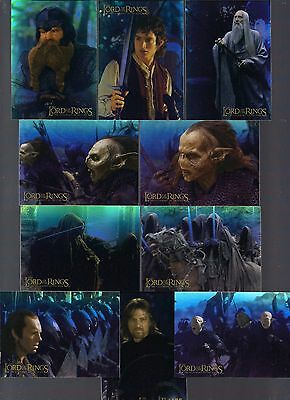 Lord Of The Rings Lotr Fellowship 2001 Topps 10 Holofoil Chase Card Set #1-10
