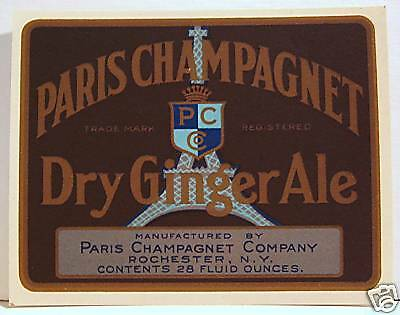 Paris Champagnet Ginger Ale Soda Pop Label Rochester NY