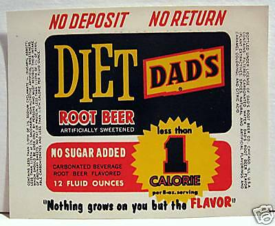Vintage Diet Dads Root Beer Soda Label Chicago Illinois