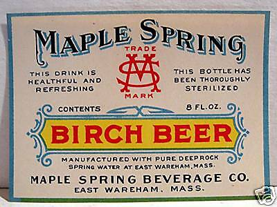 Vintage Maple Spring Birch Beer Soda Label  Mass