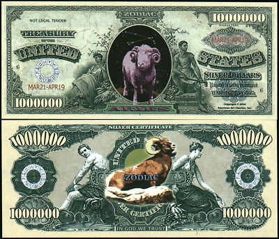 ARIES ZODIAC MILLION DOLLAR BILL- Lot of 10 Bills