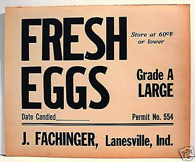 Fachinger Bulk Egg Carton Box Label Lanesville Indiana