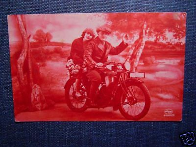 Tinted Real Photo Postcard COUPLE ON A MOTORCYCLE 1929