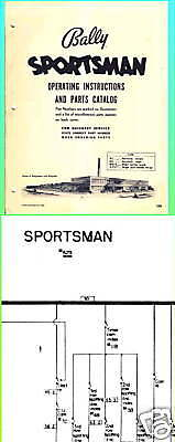 Bally Sportsman Gambling Flasher Game Manual & Schem.