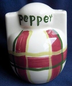 Purinton Pottery~Normandy Plaid Pepper Pour & Shake-NR!
