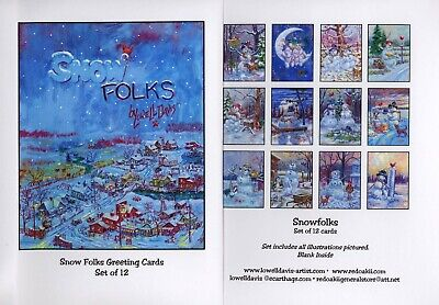 Lowell Davis Snow Folks Art Greeting Cards - set of 12