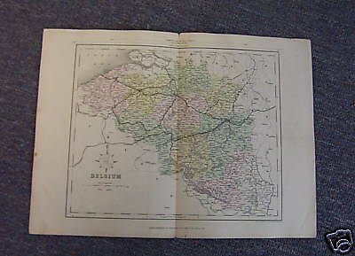 Map of BELGIUM circa 1860, Drawn & Engraved by Archer