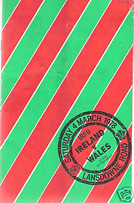 IRELAND v WALES 1978 RUGBY PROG - GRAND SLAM WALES