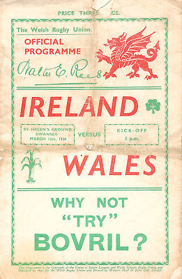 WALES v IRELAND 1938 RUGBY PROGRAMME **RARE**