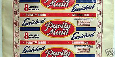 Purity Maid Wax Paper Bread Wrapper Purity Baking Co