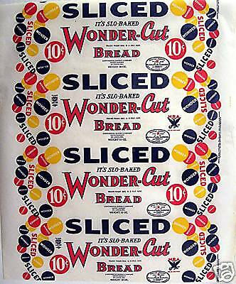 Wonder Cut NRA Wax Paper Bread Wrapper Heydt St Louis