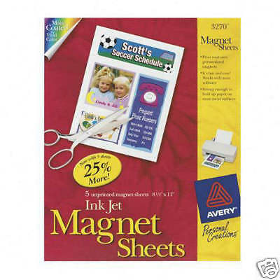 "Avery #3270 InkJet PRINTABLE MAGNETIC SHEETS 8.5x11"" 5pak Wht AVE3270 craft gift"