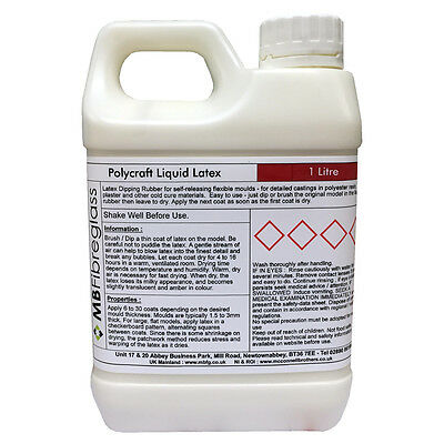Liquid Latex Brush On - Dipping Mould / Mold Making Rubber - 1 Litre