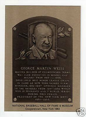 Official Hall of Fame Metallic Plaque-card: GEORGE WEISS, Yankees/Mets (1/1,000)