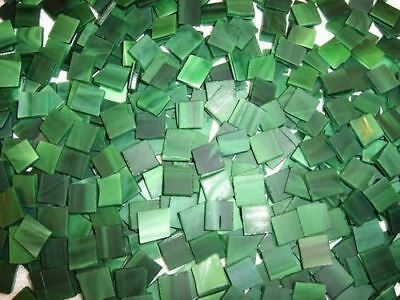 """100 1/2"""" Spruce Green Tumbled Stained Glass Mosaic Tiles, Tile"""