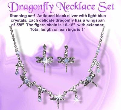 Austrian Crystal Blue DRAGONFLY Necklace & Earring Set