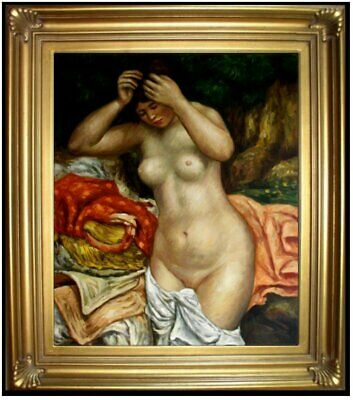 Framed Oil Painting, Repro Renoir Pierre  Bather Arranging Her Hair 20x24in