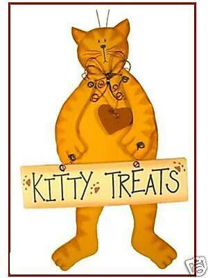 """Hanging Cat Holding """"Kitty Treats"""" Sign - NEW!"""