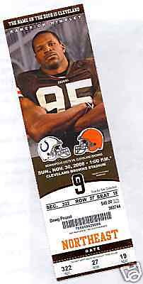 Cleveland Browns Indianapolis Colts Full Ticket 11/30/08 Peyton Manning 0 TD's