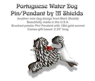 PORTUGESE WATER Dog pin/Pendant Handcrafted by M. Shields