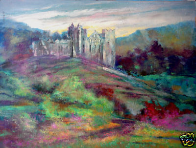 European Castle, Colorful Rolling Summer Hills 30x40 in.Acrylic  Hall Groat Sr.