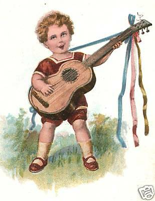 BOY w GUITAR (REPRINT of VINTAGE IMAGE) FOR GUITARIST IN YOUR LIFE! ORIG AVAIL!!