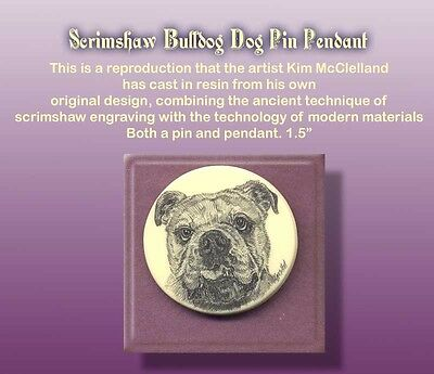 BULLDOG Dog Scrimshaw Art Pendant/Pin