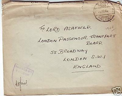 1944 Egypt Censor Cover to Lord Ashfield London England