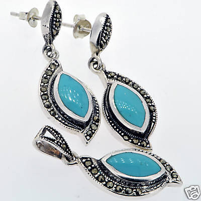 12.6 g STAMPED 925 Sterling Silver Turquoise & Marcsite Jewelry Set BELDIAMO