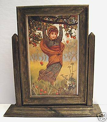 Apple Orchard Girl Old Style Rustic Wood Picture Frame