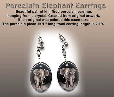 Artist Reproduction ELEPHANT Porcelain  Earrings