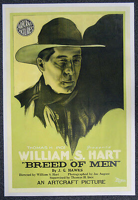 Breed Of Men '19 Original One Sh. William S. Hart Silent Western