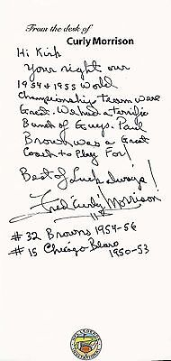 Fred Curly Morrison hand written / autographed note Cleveland Browns Bears