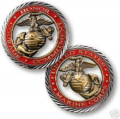 USMC MARINE CORPS CORE VALUES BIG COLOR CHALLENGE COIN