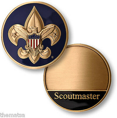 """Boy Scouts Bsa Cub Scoutmaster Engravable Made In Usa 1.75""""  Challenge Coin"""