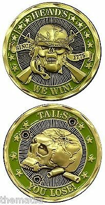 Marine Corps Army Heads We Win Tails You Challenge Coin
