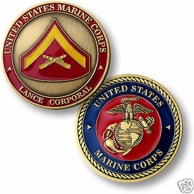 USMC MARINE CORPS LANCE CORPORAL COLOR CHALLENGE COIN