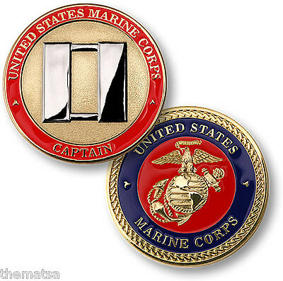 USMC MARINE CORPS CAPTAIN GOLD COLOR BIG CHALLENGE COIN