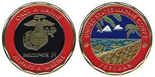 USMC MARINE CORPS VETERAN FULL  COLOR  CHALLENGE COIN