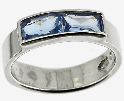 Sterling Silver Children Light Blue CZ Ring Size 1.75