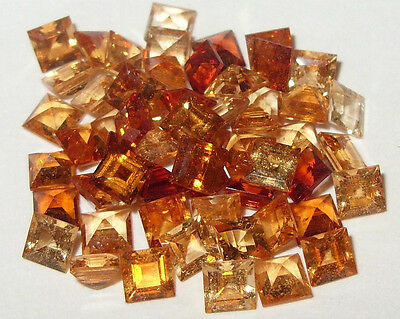 4mm Mixed Colors Tanzanian Hessonite Garnet Princess Cut