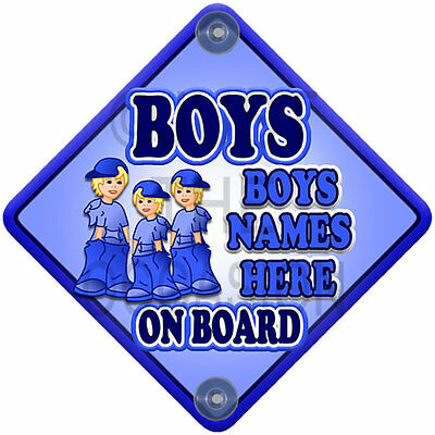 For up to 3 BOYS Blue Personalised Baby on Board Car Window Sign