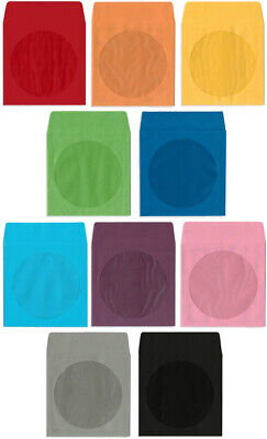 200-Pak =COLORED= Paper CD/DVD Sleeves with Window & Flap, 10 Colors Available!